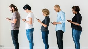 Line Of People Texting 1